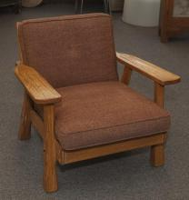 Western style wooden armchair with removable cushions