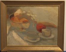Still life painting, oil on board, signed B
