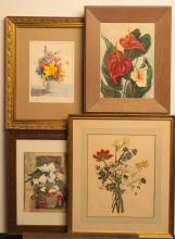 Group of four floral motif works of art: French print