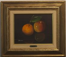 Gilt framed still life on canvas signed Gusini
