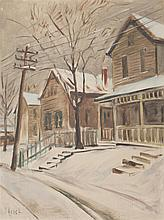 Joseph Paul Vorst, American (1897-1947), View of street in winter, oil on canvas board, 24 5/8 x 18 1/2 inches