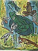 Werner Drewes, American (1899-1985), Frogs and Insects, 1957, woodcut in greens, yellows, and browns, 22 7/8 x 18 inches