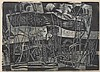 Werner Drewes, American (1899-1985), Weeds, 1956, woodcut in black and grey, 15 3/8 x 21 5/8 inches
