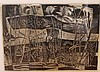 Werner Drewes, American (1899-1985), Weeds, 1956, woodcut in black and gray, 15 3/8 x 21 5/8 inches