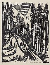 Werner Drewes, American (1899-1985), Evening Walk, woodcut, 15 1/8 x 11 3/4 inches (sight)