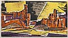 Werner Drewes, American (1899-1985), Red Rocks, 1957, woodcut in yellow, orange, purple, and black, 12 1/8 x 21 1/2 inches (sight)