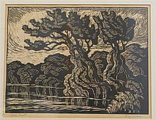 Birger Sandzen, American (1871-1954), River Sunset, woodblock, 9 x 12 inches