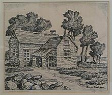 Birger Sandzen, American (1871-1954), Sandstone and Cottonwood, lithograph, 10 x 12 inches