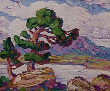 Birger Sandzen, American (1871-1954), Pines by the Lake, Estes Park, Colorado, 1927, oil on board, 10 x 12 inches