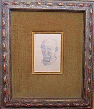 Gustav Goetsch, American (1877-1969), Self-portrait, 1960, pencil on paper, 5 1/2 x 3 3/4 inches