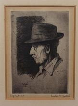 Gustav Goetsch, American (1877-1969), Self-portrait, 1951, etching, 5 x 3 1/2 inches