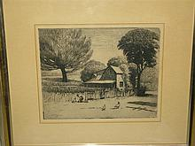 Gustav Goetsch, American (1877-1969), Farm House with Chickens, 1946, etching and aquatint, 7 1/4 x 9 inches