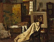Gustav Goetsch, American (1877-1969), Interior of artist's studio, 1962, oil on board, 7 x 9 inches