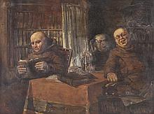 Paul E. Harney, Jr., American (1850-1915), Three monks in interior setting, oil on canvas, 18 x 24 inches