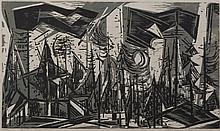 Werner Drewes, American (1899-1985), Sentinels of the West, 1957, woodcut in black and gray, 17 7/8 x 30 1/4 inches
