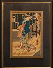 Utagawa Kunisada II, Japanese (1786-1865), Geisha, color woodblock, 13 1/8 x 8 3/4 inches (sight)