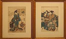 Utagawa Kunisada II, Japanese (1786-1865), Two prints of geishas, color woodblock, 13 3/4 x 9 3/8 inches; 14 x 9 1/2 inches (sight)