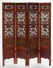 Antique Chinese Carved Wood Four-Panel Room Screen