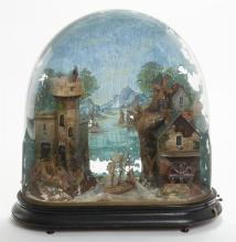 Landscape Musical Automaton Under Reverse Painted Glass Dome