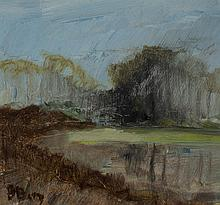 Bente Berg, Swedish (b. 1931), Modern landscape, oil on masonite,