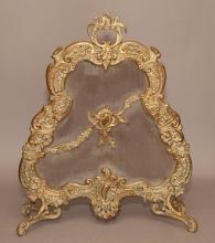 French Brass Rococo Style Armorial Fire Screen