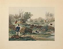 After Francis Calcroft Turner, British (1782-1846), Woodcock Shooting; Snipe Shooting; Duck Shooting, handcolored prints, 17 3/4 x 2...