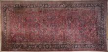 Handwoven wool pile Persian Sarouk room rug