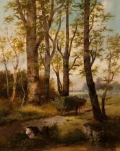 L. Vacano, Continental 19th century, Landscape with horse drawn cart, oil on canvas, 31 x 25 inches