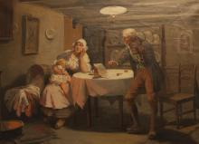 Continental School, 20th Century, Interior scene with mother and child and musician, oil on canvas, 22 x 30 inches