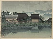 Kawase Hasui, Japanese (1883-1957), Rain at Yasuniwa-Nagano, color woodblock, 9 5/8 x 13 inches