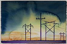 Carol Carter, St. Louis, Powerlines, watercolor on paper, 15 x 22 inches