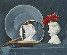 Windsor, American 20th Century, Still life with mirror and vase, oil on board, 19 1/2 x 23 1/2 inches