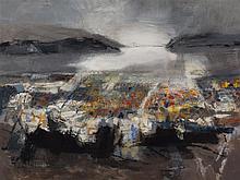 Martyl Schweig, American (1918-2013), San Francisco Bay, 1958, oil on canvas, 41 x 52 3/4 inches