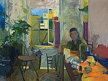 Al Blaustein, American (1924-2004), Breakfast, oil on canvas, 50 7/8 x 66 3/4 inches