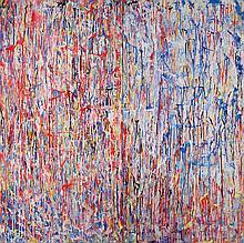 Michael Rubin, American (b. 1946), Red Ice, 1989, acrylic on canvas, 72 x 72 3/8 inches