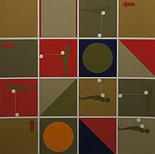 Ernest Trova, American (1927-2009), Study/Falling Man (Series I), 1967, silkscreen on canvas paper, 24 x 24 inches