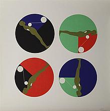 Ernest Trova, American (1927-2009), Study/Falling Man (Series II), 1967, silkscreen on canvas paper, 24 x 24 inches