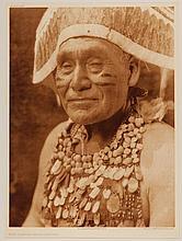 Edward Sheriff Curtis, American (1868-1952), Hupa Jumping Dance Costume, photogravure, on tissue,