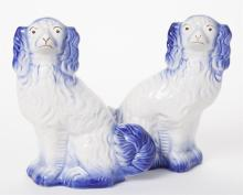 Pair of Staffordshire Flow Blue Pottery Dogs, Arthur Wood & Son, 1930s