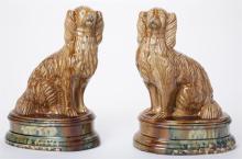 Large Fine Pair Mid-19th Century English Staffordshire Spaniels