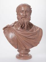 Italian Glazed Terracotta Portrait Bust of Plato
