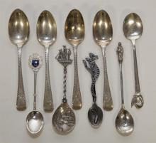 Nine British Sterling Silver Spoons