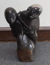 African Black Stone Carving of a Mother Holding a Child