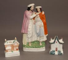 Antique Staffordshire Pottery Group 'PRODIGAL'S RETURN' and Two Houses