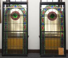 Pair of Emil Frei Arched Form Stain Glass Windows