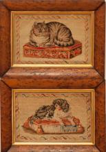 Pair of Victorian Pictorial Embroideries, DOG and CAT