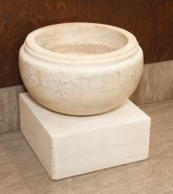 Carrara marble planter