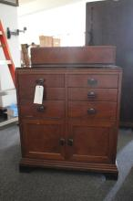 Art Deco Walnut Medical Cabinet with Bakelite handles and black glass top