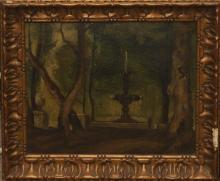 J. Mees, early 20th century, Park setting with figures beside a fountain, oil on board, 8 1/4 x 10 1/4 inches