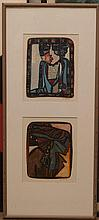 Hal Poth, American (b. 1924), Untitled, Two watercolor drawings, figures (1987), Size of each 8 x 6 inches